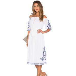 x REVOLVE Marty Midi Dress in White Tularosa